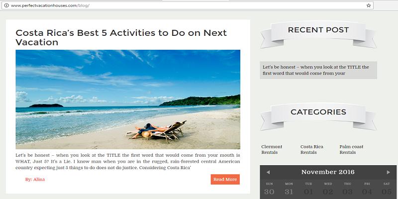 blog section in Property rental websites