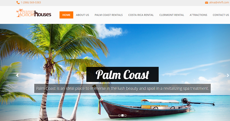 vacation rental website design home page