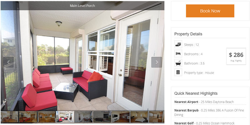 call-to-action in Vacation rental website